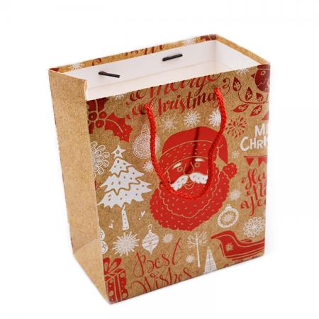 Custom Made Merry Christmas Paper Gift Bag With Handles