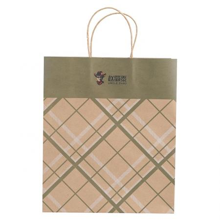 Custom Promotional brown kraft paper shopping carrier bags